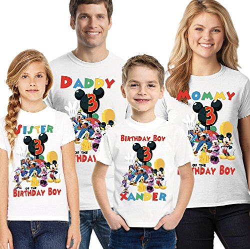 Mickey Mouse Clubhouse Birthday Shirt add name and age, Mickey Clubhouse Family birthday shirts by Party Style Store