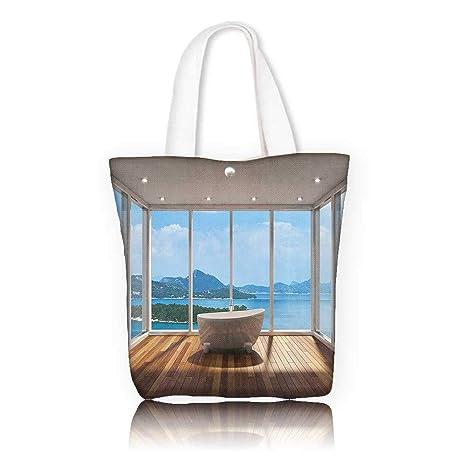 3476972b04 Amazon.com  Reusable Cotton Canvas bag -W23 x H14 x D7 INCH women ...