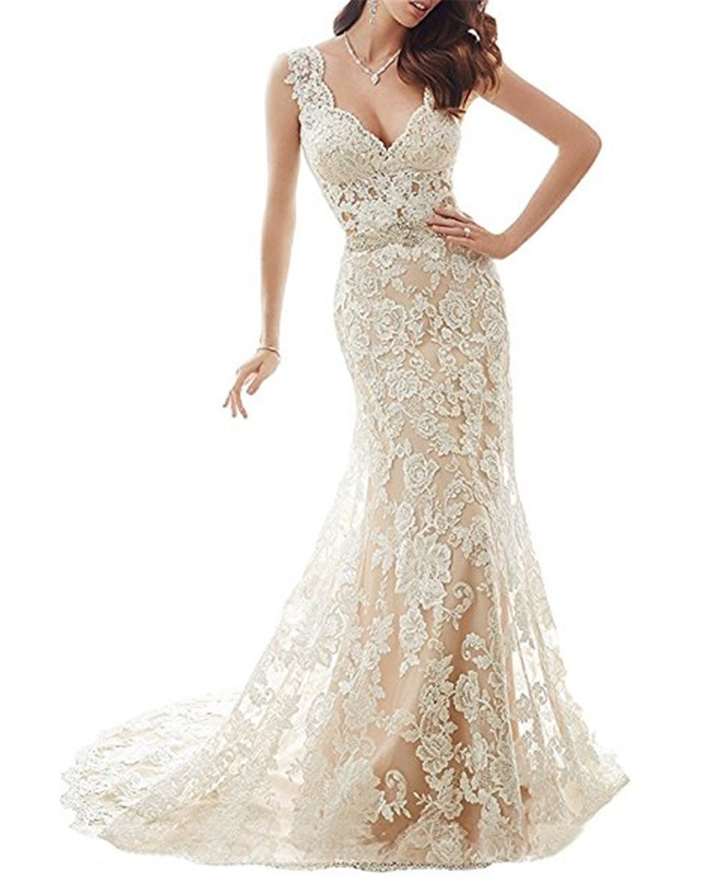 YSMei Womens Illusion Back Mermaid Wedding Dress For Bride Lace Formal Gown With Train Champagne 10