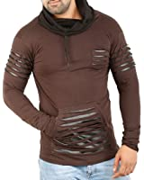 Perfect Creations Men's Cotton And Leather Full Sleeve Brown Color Hooded T-Shirt