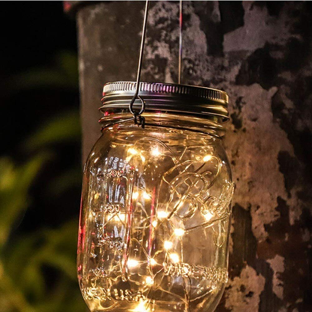 Mason Jar Light 20Led Waterproof IP65 Glass Hanging Lantern Outdoor String Lamp Fairy Decoration for Home Party Garden (Warm White)