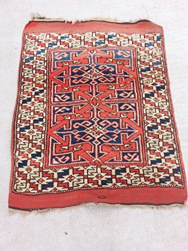 Handcraftigo Size:3.9 ft by 3 ft Handmade Rug Antique Caucasian Kazak Small Carpet