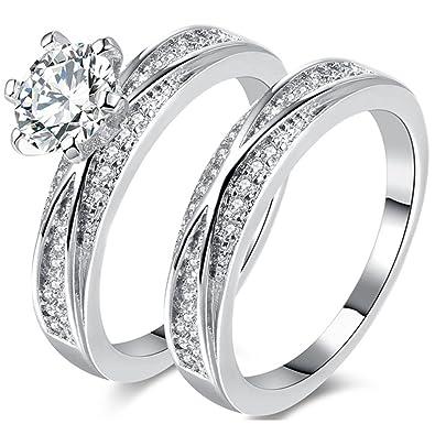 Amazon Com Temego Silver White Gold Bridal Sets Wedding Rings