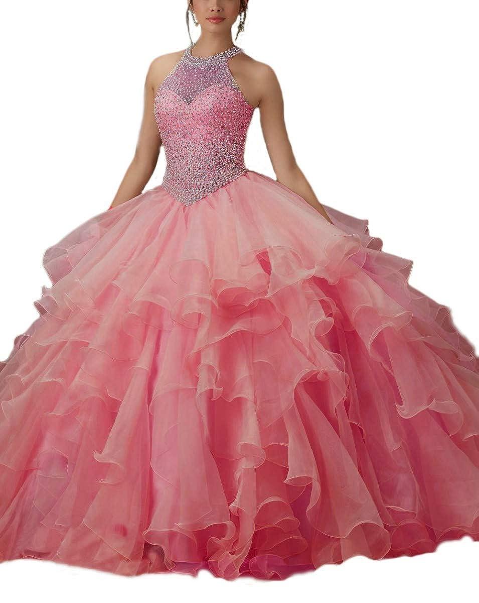 Hot Pink ANGELA Women's Halter Beads Ball Gown Quinceanera Dresses Organza Long Prom Dress