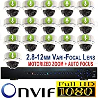 USG 2016 1080P HD IP CCTV Kit With Motorized Auto Zoom Cameras + Audio: 1x 24 Channel NVR + 16x 1080P 2.8-12mm PoE IP Dome Cameras With Motorized Lens & Audio Upgrade + 1x 4TB HDD Business HD CCTV