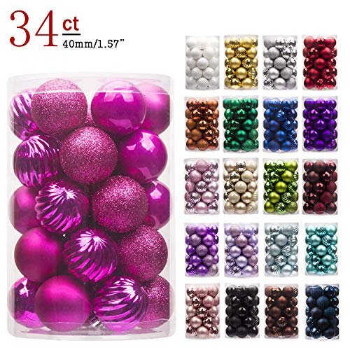 "KI Store 34ct Christmas Ball Ornaments Shatterproof Christmas Decorations Tree Balls Small for Holiday Wedding Party Decoration, Tree Ornaments Hooks Included 1.57"" (40mm Hot Pink)"