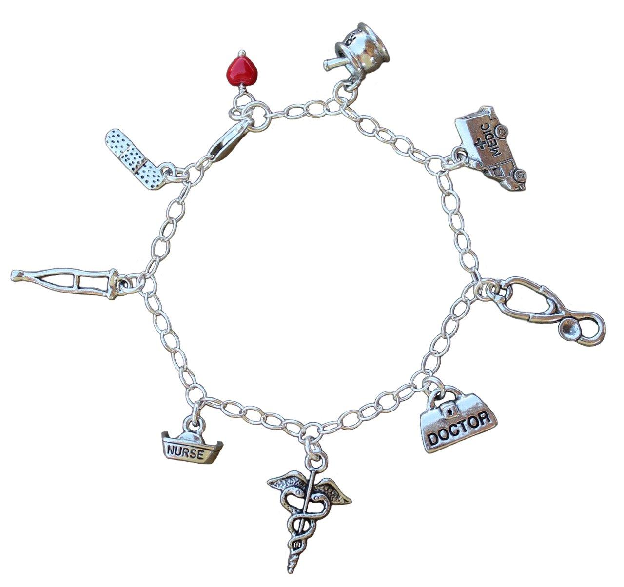 Medical Pewter Charm Bracelet- Sterling Silver Chain- Doctors, Nurses, Hospital, Medics (8.5'' (XL))