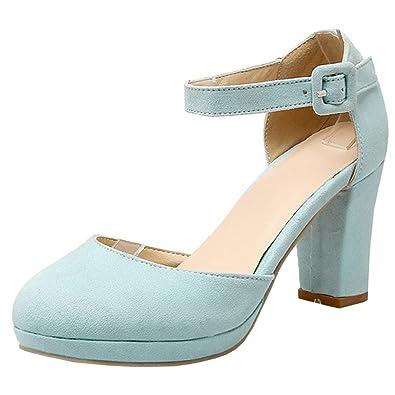 b9f7bdb75ee688 Atyche Damen Blockabsatz High Heels Sandalen mit Schnalle und Plateau Riemchen  Pumps Elegante Schuhe  Amazon.de  Schuhe   Handtaschen