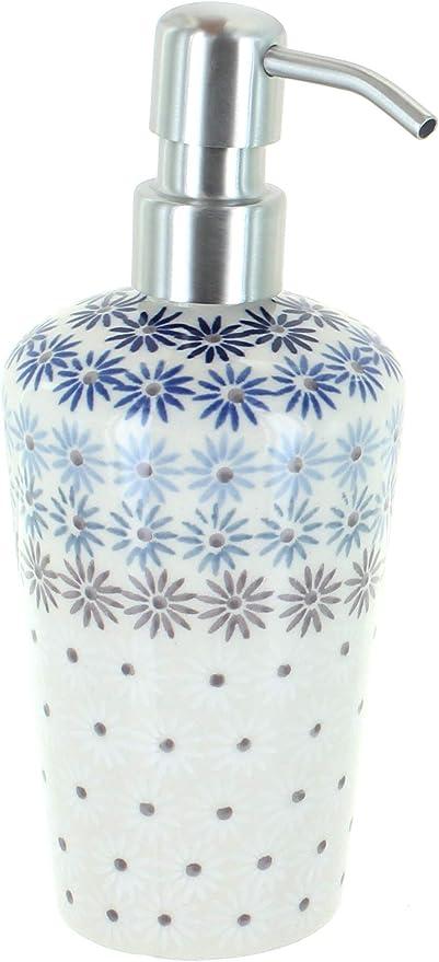 Blue Rose Polish Pottery Blue Violet Soap Dispenser