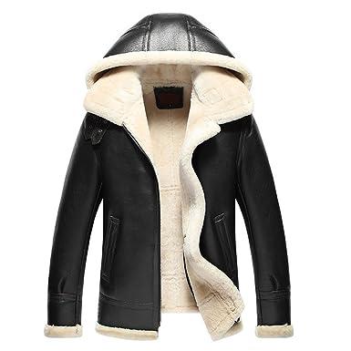 Sheepskin men hooded jacket 8B2do4LZ