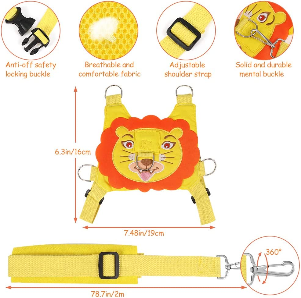 Babies and Children Kids Kids Safety Harnesses Reins Anti Lost Safety Wrist Cuff with Lock Heyu-Lotus 3-in-1 Toddler Reins for Walking Lion Backpack and Belt Strap Link for Toddler