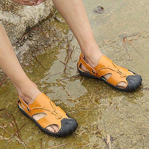 Odema Mens Sandali In Pelle Per Esterni Misura Più Punta Chiusa Slip On Sandali Pescatore Giallo