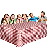 6 Christmas Party Vinyl Tablecloths - Red and White Checked Picnic Camping Party Supply Table Cover. Birthdays, Gatherings, Holidays, BBQ s - 108 x 54 inches Vinyl Tablecloth