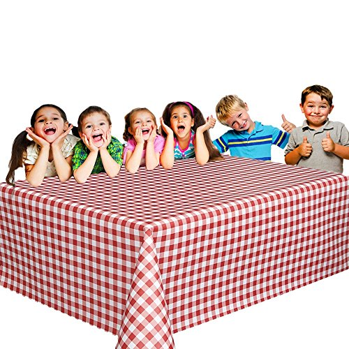 6 Christmas Party Vinyl Tablecloths - Red and White Checked Picnic Camping Party Supply Table Cover. Birthdays, Gatherings, Holidays, BBQ s - 108 x 54 inches Vinyl (Red Checkered Plastic Tablecloth)