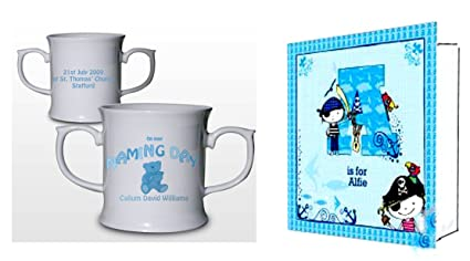Tazza personalizzata battesimo baby boy gift con bordi di amazon