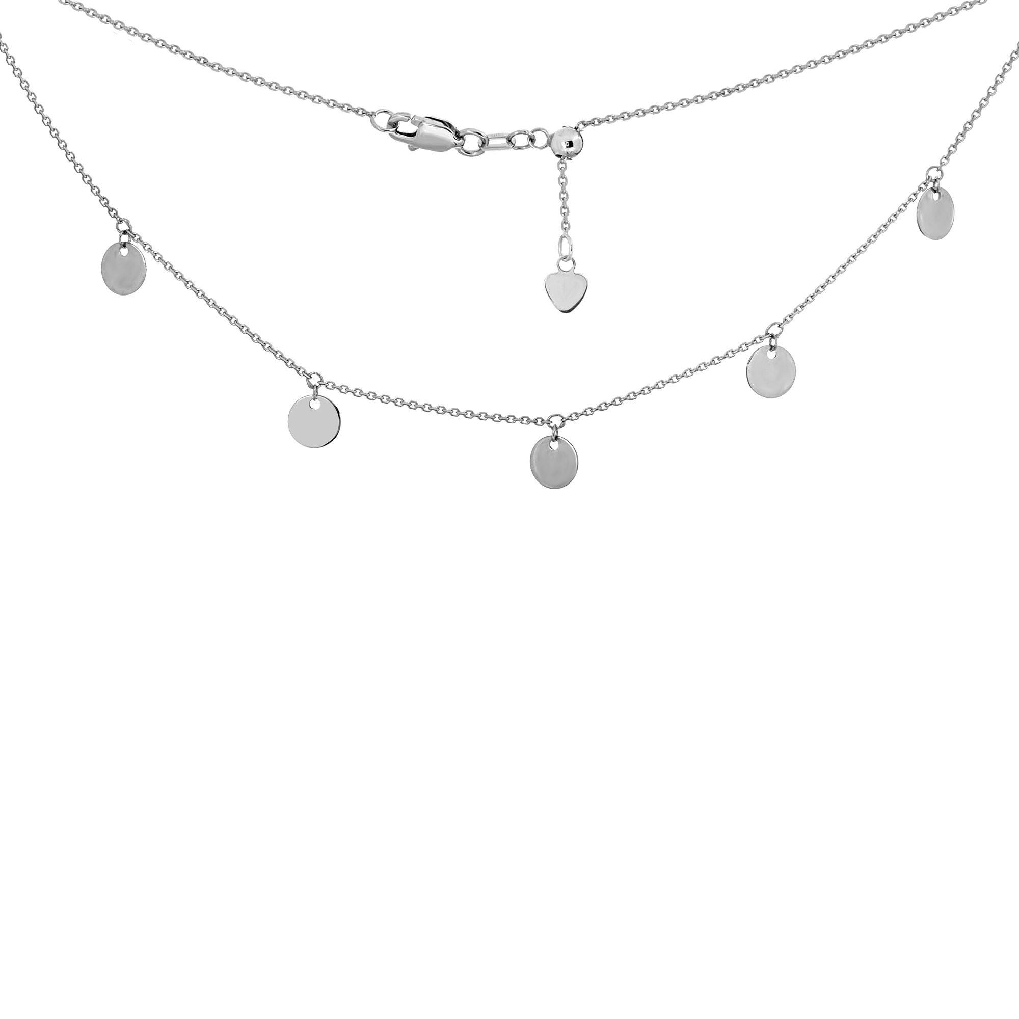 Choker Necklace with Dangle Disk Charms Chain 14k White Gold - Adjustable