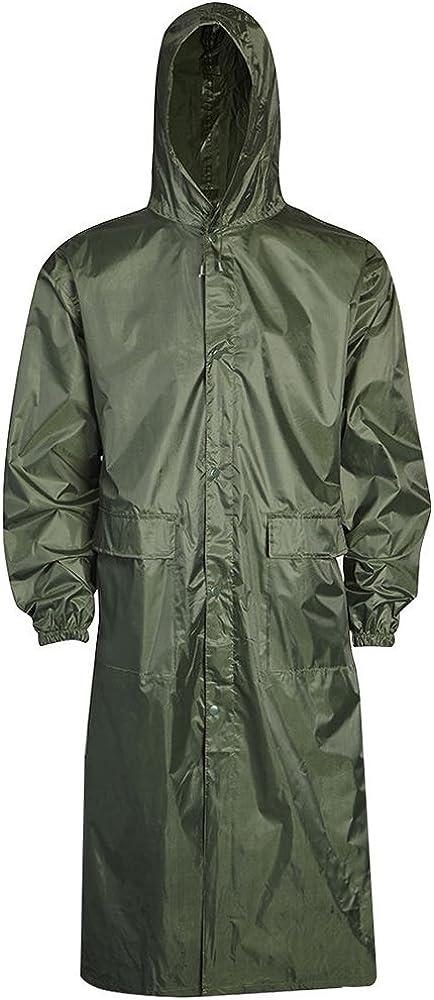 Army And Workwear Mens Long Waterproof Hooded Lightweight Rain Coat Outdoor Jacket Raincoat Dry