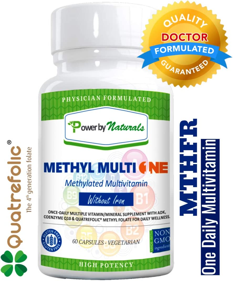 PbyN – Dr Formulated – Methyl Multi One Without Iron – Once Daily MTHFR Methylation Protect Methylated Multivitamin with ADK, CoQ10, Active Vitamin B12, Quatrefolic Methylfolate Men and Women – 60ct