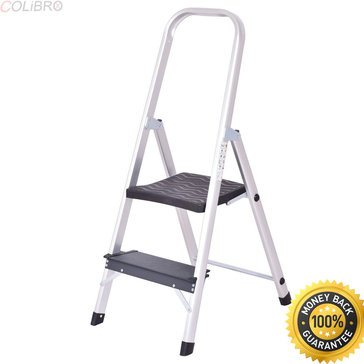 COLIBROX--2 Step Aluminum Ladder Folding Non-Slip Work Platform Stool 330Lbs Load Capacity. easyreach by gorilla ladders plastic 2-step project stool. aluminum 2 step stool. lowes 2 step ladder.