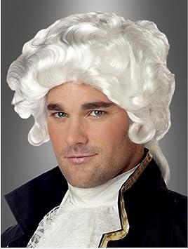 Qubeat Perruque Homme Court Blanc Bouclé