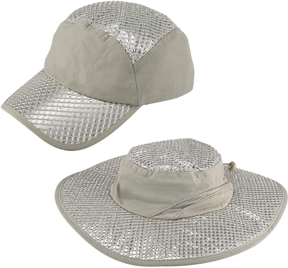 Anti-UV Sunstroke-Prevented Cooling Hat,Lined with Evaporative PVA Materal for Fast Cooling Relief,Breathable UPF Protection Cap for Hiking Hunting Camping Outdoor Grey (A+B)