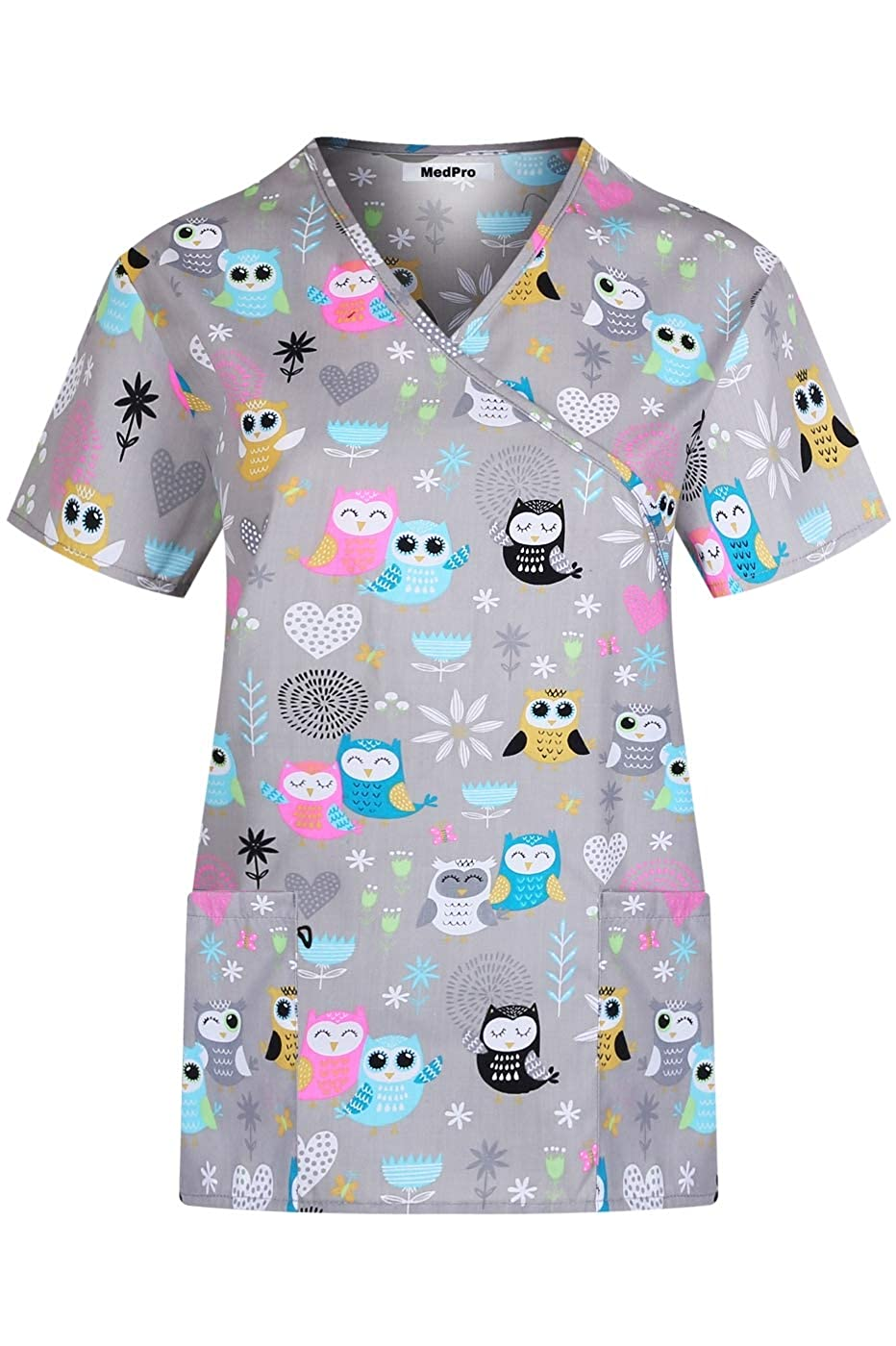 13932b5b775 Amazon.com: MedPro Women's Printed Medical Scrub Set Mock Wrap Top and Pants:  Clothing