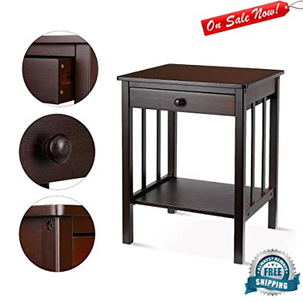 Bamboo End Table With Drawer Living Room Wood Chairside Accent Table Lower  Display Shelf Storage Coffee
