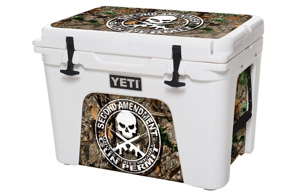 USATuff Wrap (Cooler Not Included) - Lid and Insert Kit Fits YETI 35qt Tundra - Protective Custom Vinyl Decal - 2nd Amend Woodland Camo by USATuff