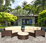 Outdoor Furniture Sectional Sofa Rattan Wicker 8 Piece Semicircular Patio Furniture Seating Set with Beige cushions,Aluminium Frame, Brown PE Wicker