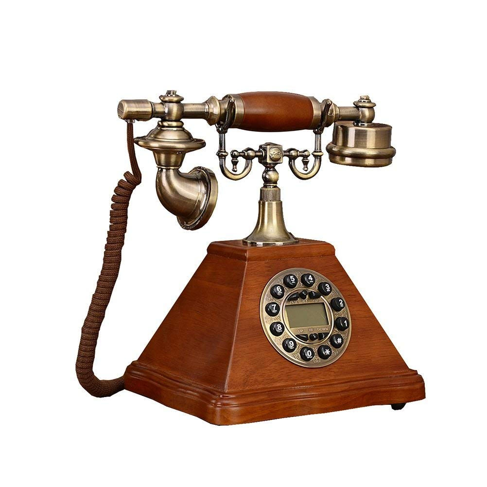 SunXue Antique Retro Dial Phone Chinese Home Landline Office Fixed-Line Table Phone Welcome Telephone Blue Screen Handsfree Button Old Solid Wood