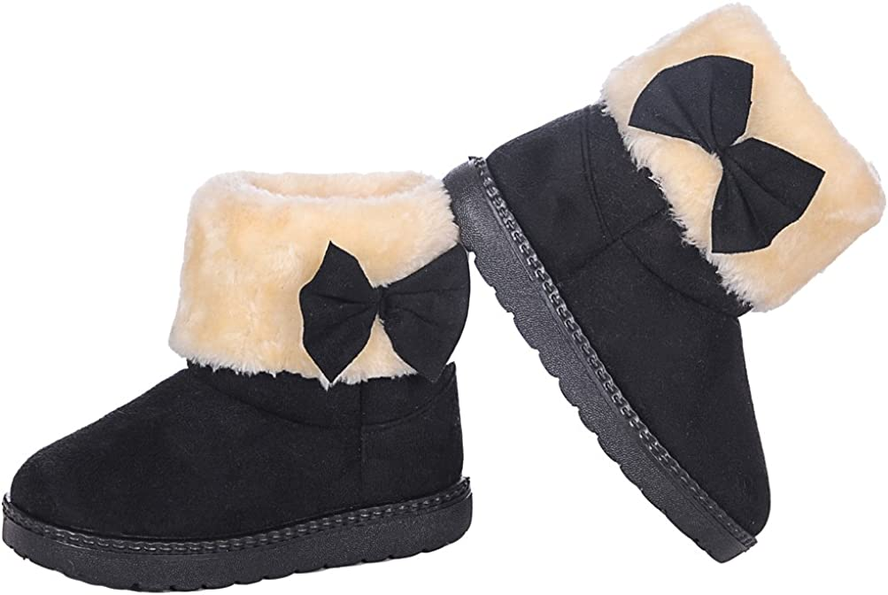 Toddler//Little Kid//Big Kid iDuoDuo Girls Cute Bow Fashion Princess Boot Ankle Faux Fur Cuff Dress Party Boots