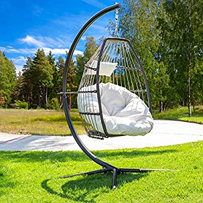 Barton Luxury Wicker Hanging Chair Swing Chair Patio Egg Chair UV Resistant Soft Deep Fluffy Cushion Relaxing Large Basket Porch Lounge, Cream from Barton