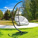 Barton Luxury Wicker Hanging Chair Swing Chair Patio Egg Chair UV...
