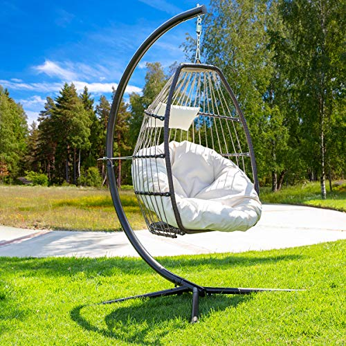 Barton Luxury Wicker Hanging Chair Swing Chair Patio Egg Chair UV Resistant Soft Deep Fluffy Cushion Relaxing Large Basket Porch Lounge, Cream