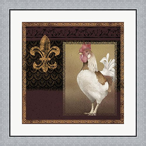 Rooster Ware Burgundy III by Kory fluckiger Framed Art Print Wall Picture, Flat Silver Frame, 28 x 28 inches (Pictures Framed Rooster)