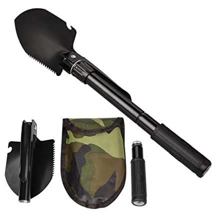 Jipemtra Military Shovel Portable Folding Emergency Survival Compass Spade Entrenching Tool with Carrying Pouch for Camping Hiking Backpacking Fishing Gardening with Rubber Handle /(Black/)