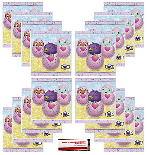 16 Pack Hatchimals Party Plastic Loot Treat Candy Favor Bags (Plus Party Planning Checklist by Mikes Super Store)
