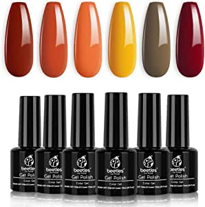Beetles Gold Yellow Gel Polish Set- 6 Colors Red Gel Nail Polish Kit Autumn Fall Nail Gel Polish Set Soak Off LED Nail Lamp Required, 7.3 ml Each Bottle Gel Nail Kit