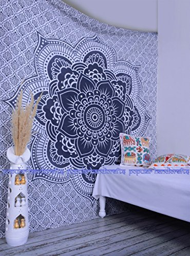 Popular Handicrafts Kp644 Flower ombre grey large Ombre Tapestry Indian Mandala Wall Art Hippie Wall Hanging Bohemian Bedspread multi purpose tapestries 84x90 Inches
