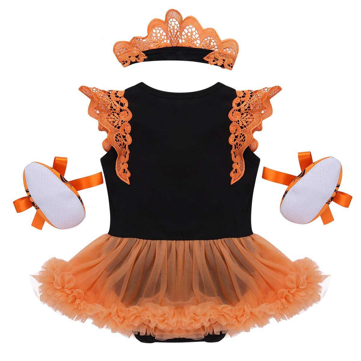 TiaoBug D/éguisement Halloween B/éb/é Fille Ensemble Costume Citrouille Robe Princesse Body Barboteuse Romper /à Manche Volant Tenue de F/ête 0-12 Mois