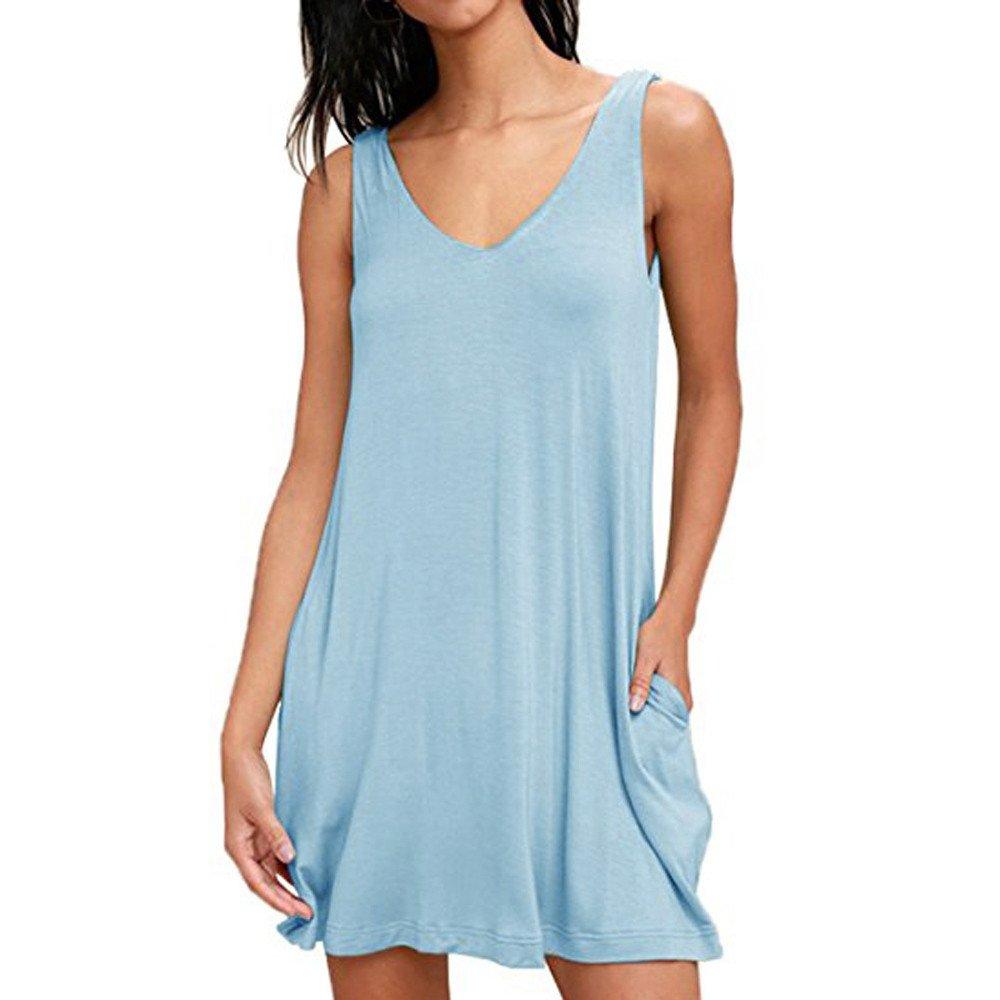 aiNMkm Beach Dresses for Girls,Women Summer Sexy Solid V-Neck Sleeveless Pocket Mini Dress,Light Blue,S
