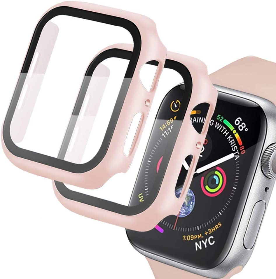 [2 Pack] Compatible for Apple Watch Series 3/2/1 38mm Pink Case with Tempered Glass Screen Protector, AMATOP10 Full Coverage Shockproof Bubble-Free Easy Installation Cover for iWatch Accessories