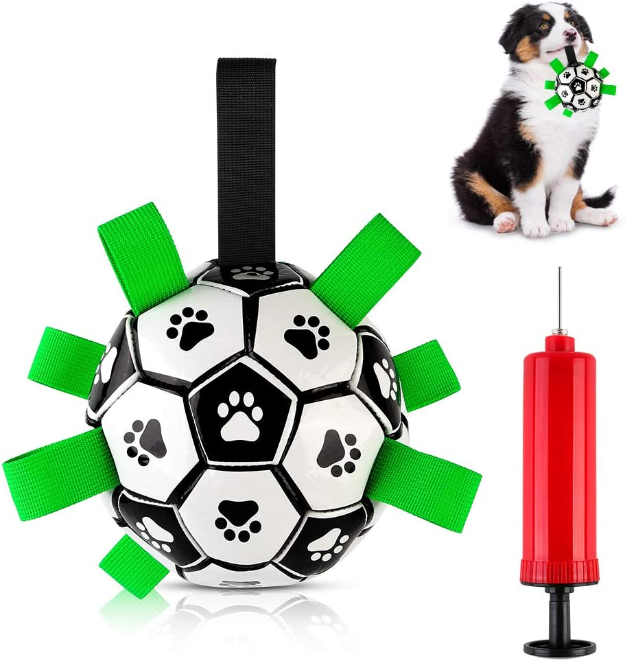 Interactive Soccer Ball Dog Toys with Grab Taps, Lightweight and Water Resistant Suitable for Outdoor Parks Fields Lakes Swimming Pools for Small/Medium Breeds Training Fun ,Football for Dogs