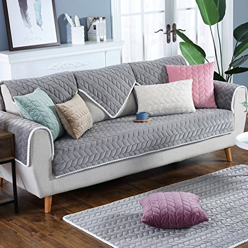 OstepDecor Multi-size Soft Rectangular Winter Quilted Furniture Protector and Slipcover for Pets, Kids, Dogs - Large & Standard Sofa, Loveseat, Recliner and Chair | Grey 28'' W x 70'' L (70 x 180cm) by OstepDecor