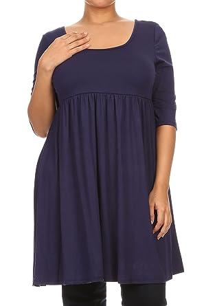 6870883b17b Women Plus Size Half Sleeve Solid Babydoll Casual Tunic Top Dress Navy XL  (D240 SD