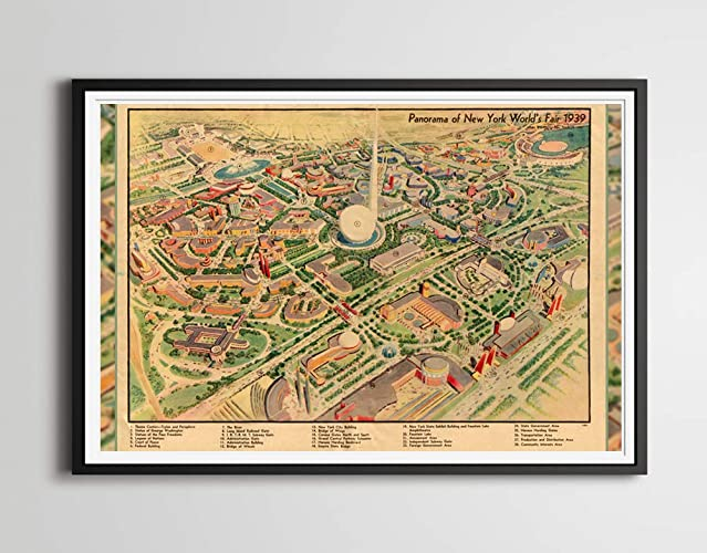 Amazon.com: 1939 New York World's Fair MAP POSTER! (Full ... on world cotton centennial map, ny world fair pavilion map, world fair site map, seattle center map,