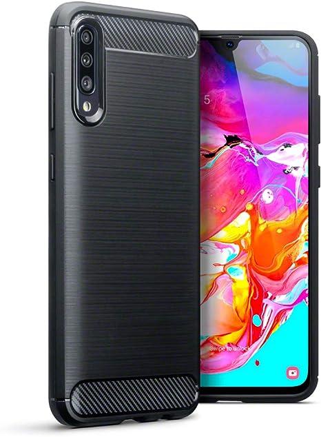 TERRAPIN Funda para Samsung Galaxy A70 Protectiva de Silicona Gel TPU Estrecha de Diseño Fibra Carbono con Efecto Cepillado: Amazon.es: Electrónica