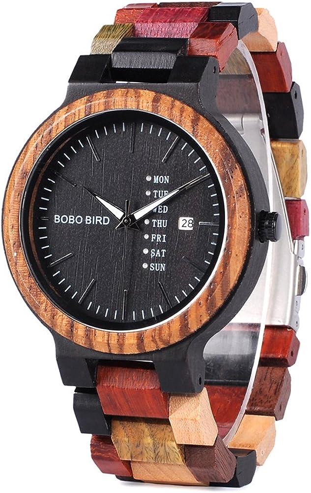 Men s Wooden Watch Colorful, Week Date Display Quartz Watches Handmade Casual Wood Wrist Watch