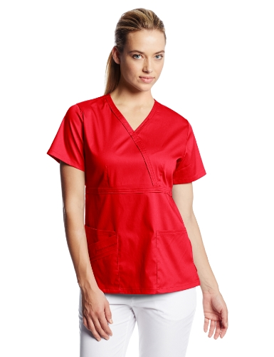 (Cherokee Women's Scrubs Luxe Mock Wrap Top, Red, XX-Large )
