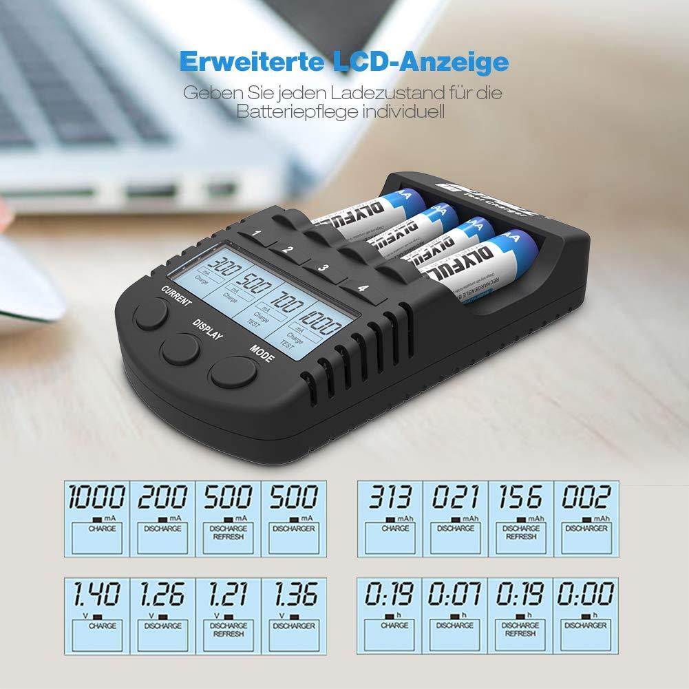 LCD Akkus Ladegerät DLYFULL Smart Charger für AA/AAA Micro/Mignon mit USB Anschluss Erhaltungsladung Einzelschachtladung 4 Modi: Aufladen, Entladen, Prüfen & Auffrischen - mit LCD Display